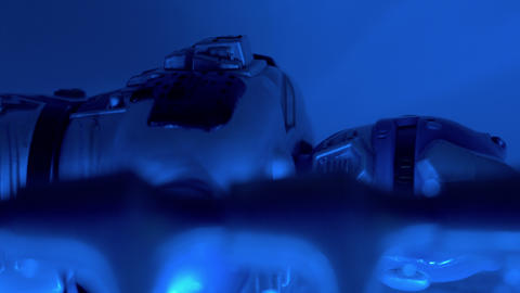 robot and blurred blue lights, abstract background Stock Video Footage