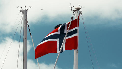 Flag Of Norway, Blue Sky Footage