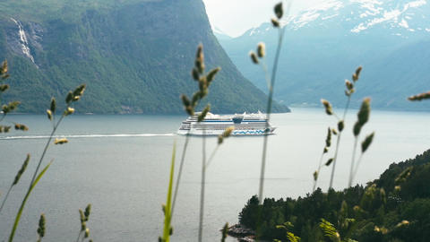 Cruise Liner On Fjord, Norway stock footage