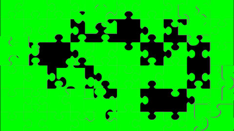 Jigsaw Puzzle Green Screen Transition Stock Video Footage