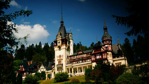 Peles royal castle in Sinaia, Romania. Cloud time Footage