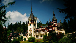 Peles royal castle in Sinaia, Romania. Cloud time Stock Video Footage