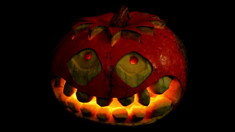 Carved Halloween pumpkin ALPHA matte, Full HD Stock Video Footage