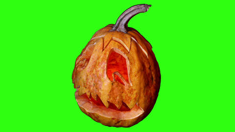 Carved Halloween pumpkin green screen, Full HD Stock Video Footage