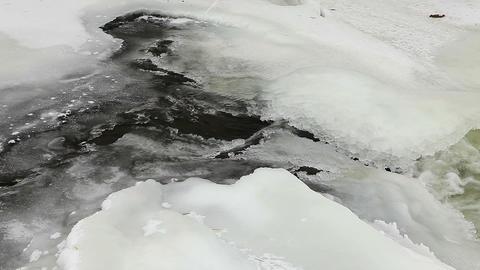 Winter scenic of the River Krynka, Donetsk region Stock Video Footage
