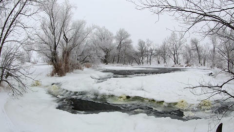 Winter scenic of the River Krynka, Donetsk region Stock Video Footage