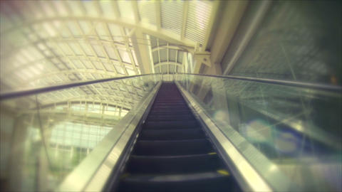 Retro look speed up escalator ride Stock Video Footage