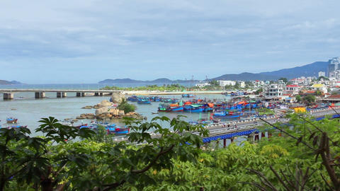 Asian City. Panorama of the city of Nha Trang. Vie Footage
