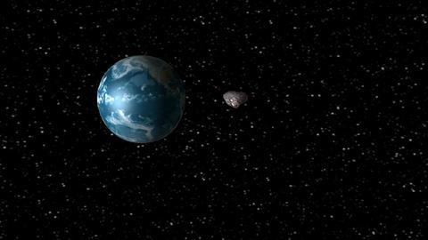 Asteroid encountering Earth Animation