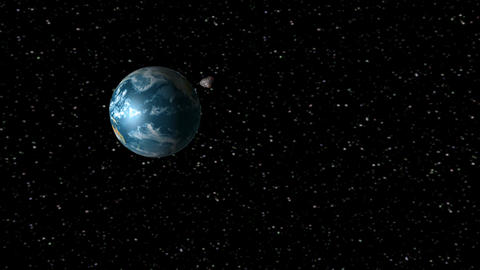 Asteroid encountering Earth Stock Video Footage