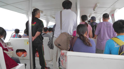 people on the ferry from tamsui to bali Footage