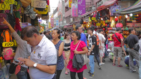 people shopping on old street Stock Video Footage