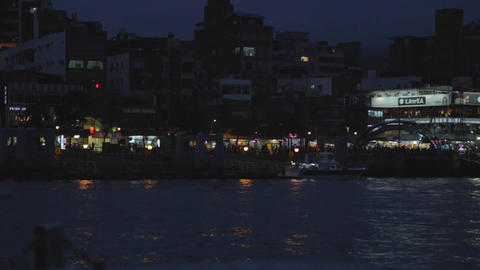 tamsui evening from ferry Stock Video Footage