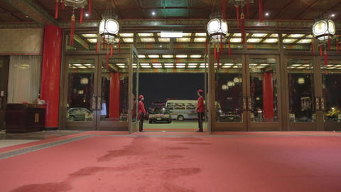 wide enter the grand hotel - red carpet Stock Video Footage