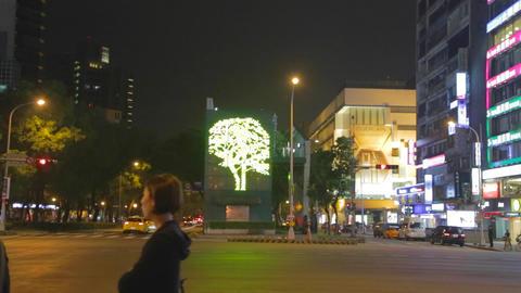 illuminated tree on dunhua road Footage