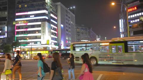 pedestrian cross dunhua street at night Stock Video Footage