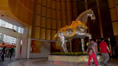 pan Mgm Macau Hotel Casino Horse Statue Sculpture Footage