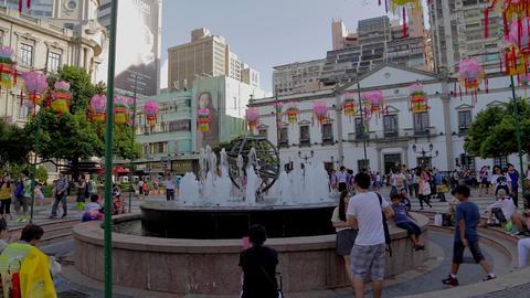fountain at Senado square Stock Video Footage