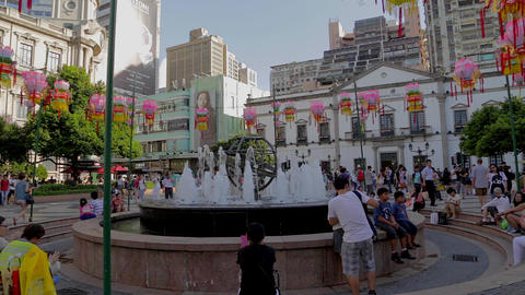 fountain at Senado square Footage