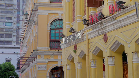 senado square - yellow building architecture Footage