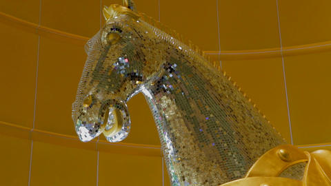 Mgm Macau Hotel Casino Horse Statue close Stock Video Footage