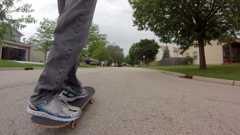 Following Skateboard On Street stock footage