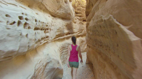 Hiking Through Canyon 2 stock footage