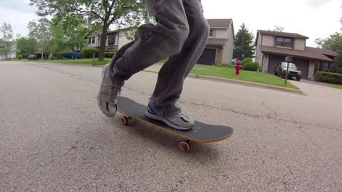 Skateboarding on Street Stock Video Footage