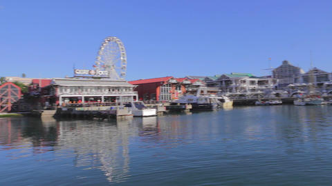 a medium left to right pan of the capetown harbour Stock Video Footage