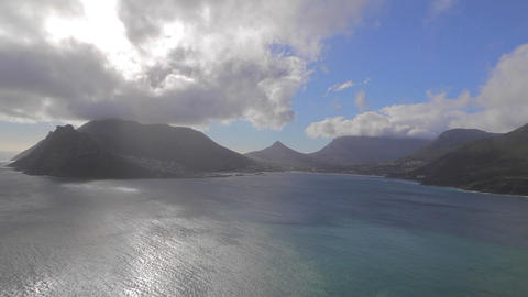 a left to right pan at pretty camps bay mountain a Stock Video Footage
