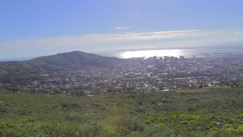 a pan of downtown Captetown from Table Mountain an Footage