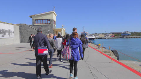 a view from the robben island tour bus Footage