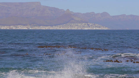 a low to high tilt from Robben island shore to cle Stock Video Footage