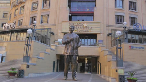 a tilt shot of the Nelson Mandela square with a to Footage