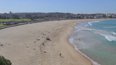 georgeous sunny day wide angle aerial of bondi bea Footage