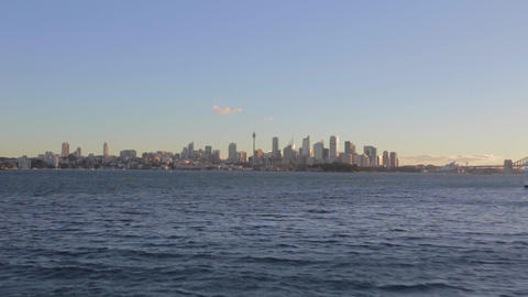 a view of the CBD skyline Sydney and harbour bridg Footage