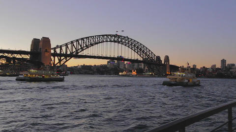 evening pan from the sydney harbour bridge to the  Footage