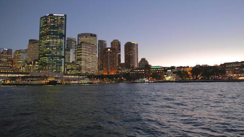 evening pan from the CBD to sydney harbour bridge Stock Video Footage