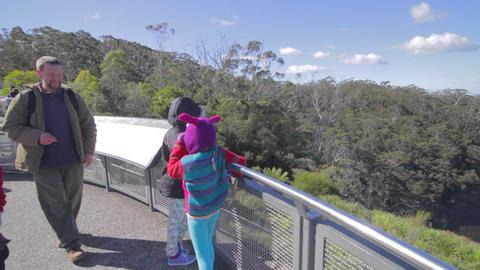a birds eye pan of tourist taking photos of the 3  Footage