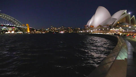 evening pan from the opera house to the harbour br Live影片