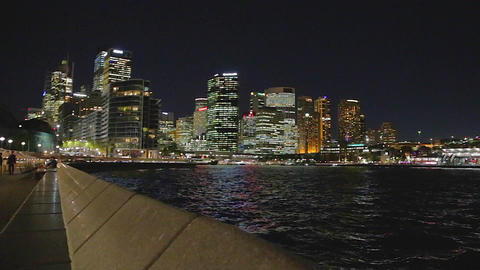 Circular quay evening - cbd and the harbour bridge Footage