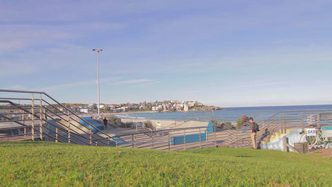 cinematic dolly shots around bondi beach and skate Footage