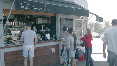 people at bondi beach ordering coffee Footage
