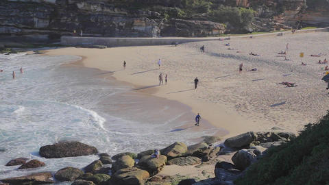 close pan of bronte beach Footage