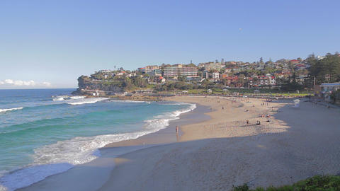 wide and medium shot of people at bronte beach Footage