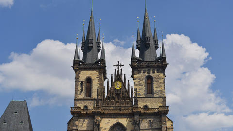 4k UHD prague tyn church wide time lapse tilt 1141 Footage