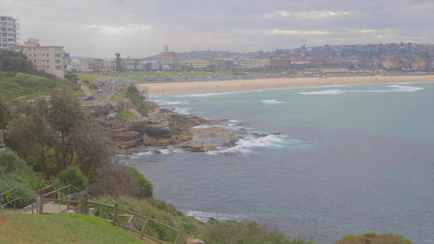 a medium and wide pan shot compilation of bondi be Stock Video Footage