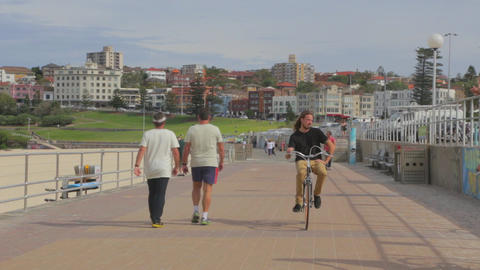 Low Angle View Of The Bondi Pavillion And The Prom stock footage
