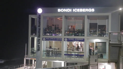 a pan of bondi iceberg club and the beach in the e Stock Video Footage