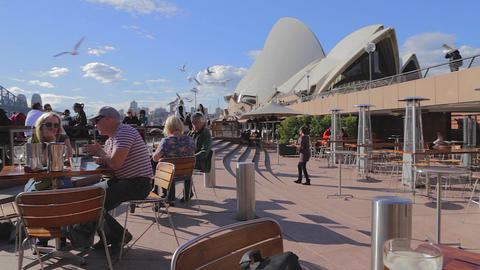 lunch on the patio in front of the opera house and Footage